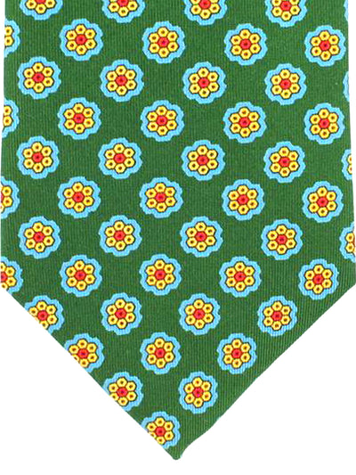 E. Marinella Tie Green Blue Orange Geometric Design - Wide Necktie