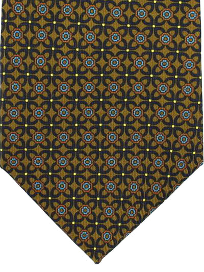 E. Marinella Tie Olive Black Blue Brown Geometric Design - Wide Necktie