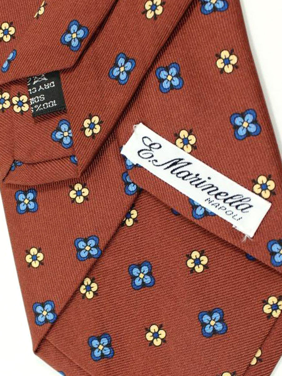 E. Marinella Tie Brown Blue Floral Design - Wide Necktie