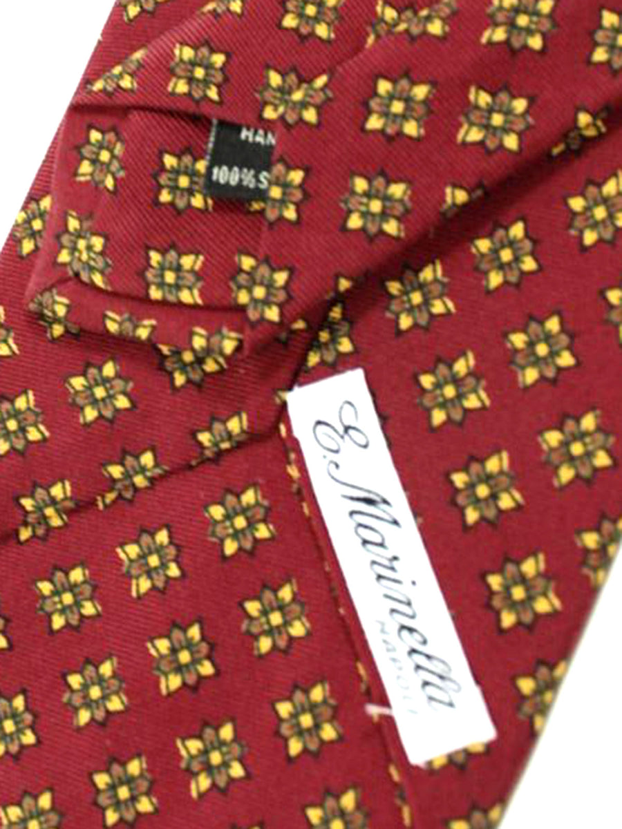 E. Marinella Tie Maroon Brown Floral Design - Wide Necktie