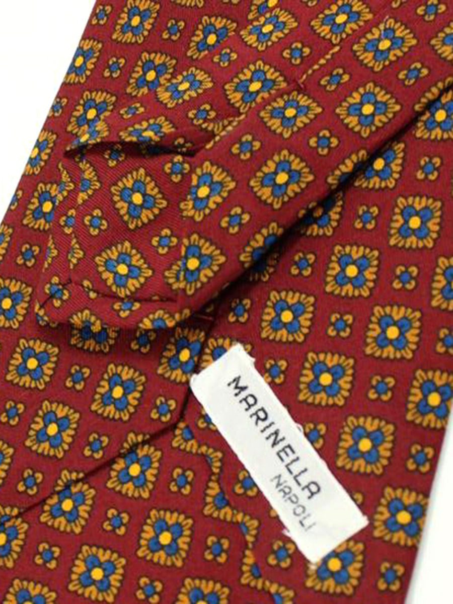 E. Marinella Tie Maroon Royal Blue Copper Geometric Design - Wide Necktie