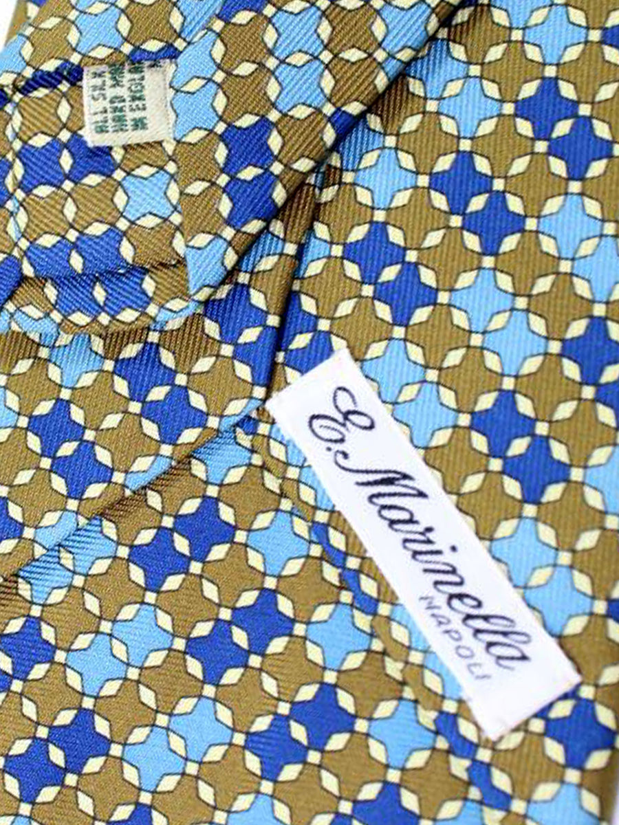 E. Marinella Tie Olive Blue Geometric Design - Wide Necktie