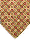 E. Marinella Tie Olive Red Geometric Design - Wide Necktie