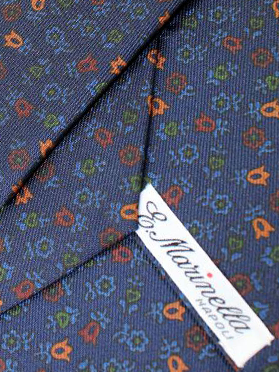 E. Marinella Tie Dark Navy Floral Design - Wide Necktie