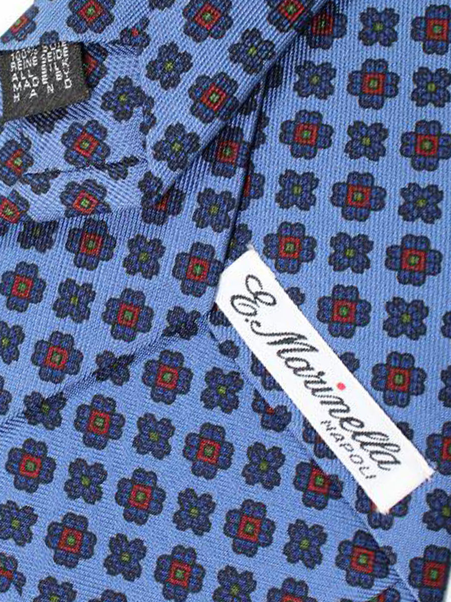 E. Marinella Tie Blue Geometric Design - Wide Necktie