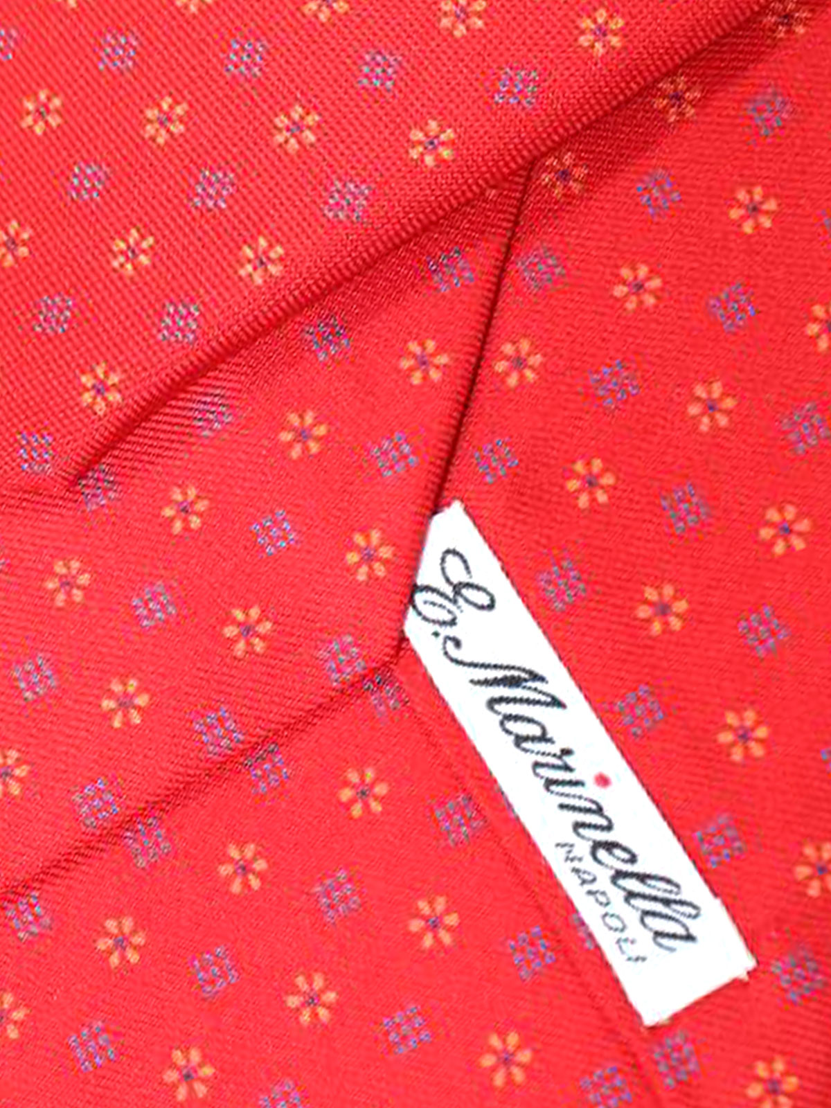 E. Marinella Tie Red Floral Design - Wide Necktie