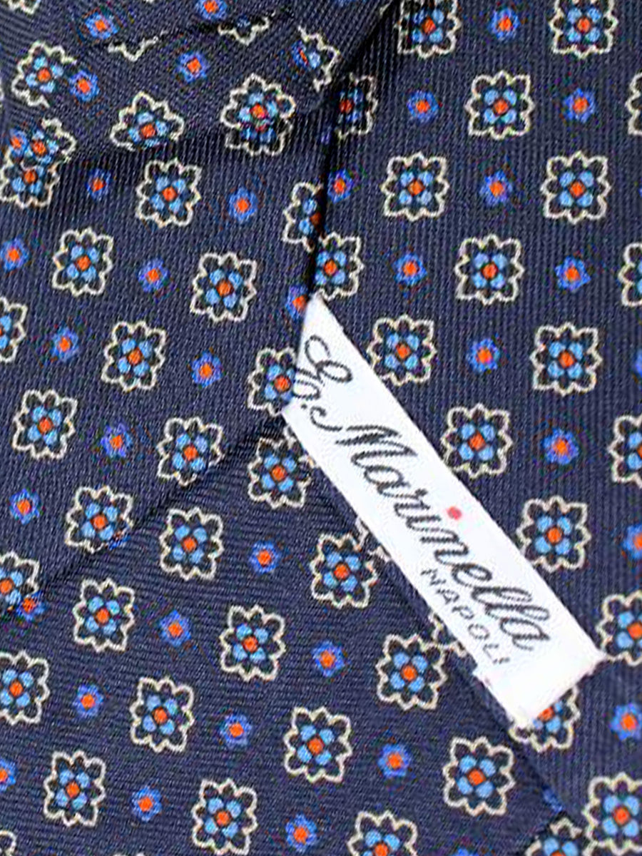 E. Marinella Tie Navy Pink Geometric Design - Wide Necktie