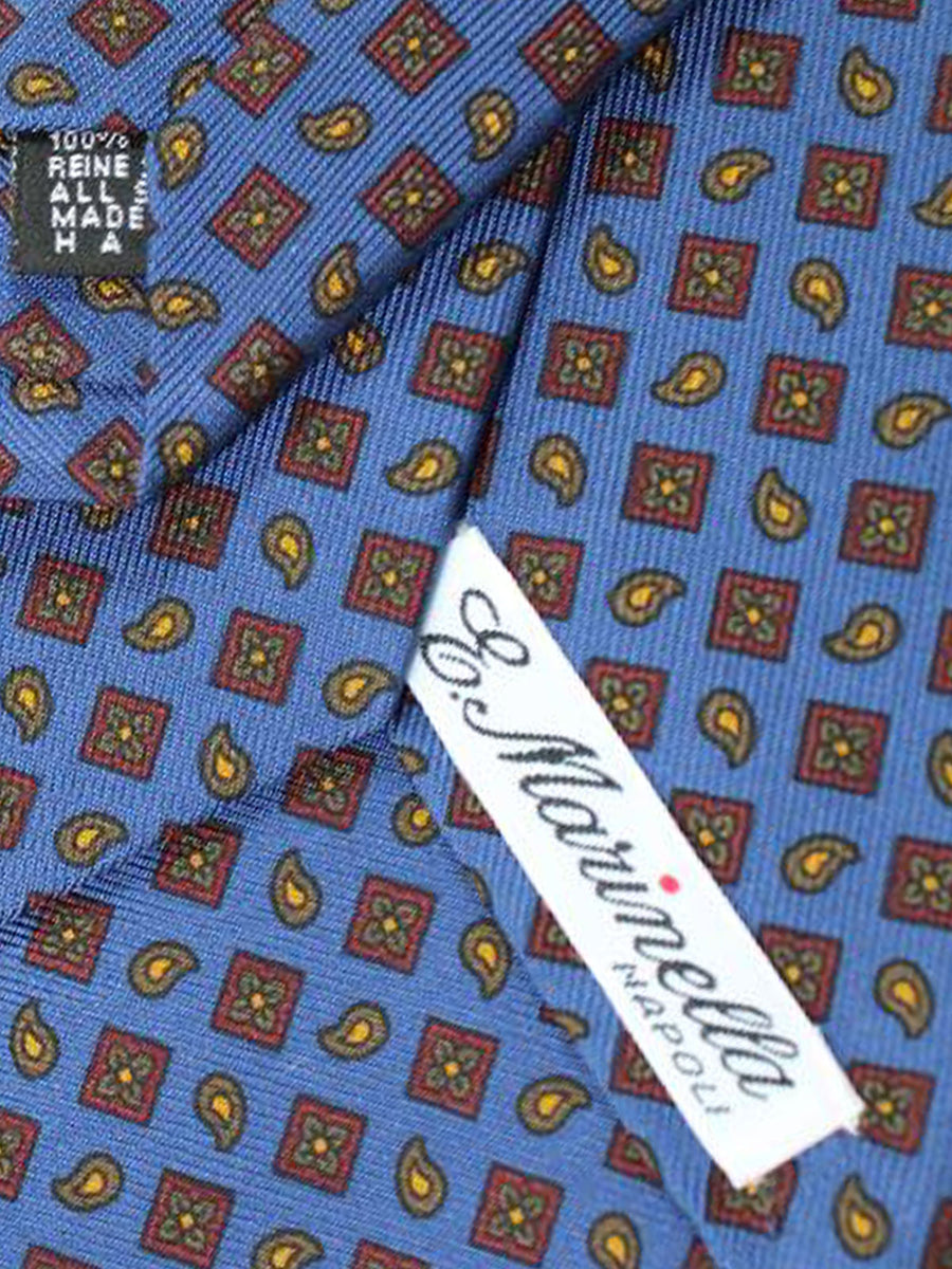 E. Marinella Tie Navy Maroon Orange Geometric Design - Wide Tie
