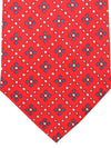E. Marinella Tie Red Navy Geometric Design - Wide Tie