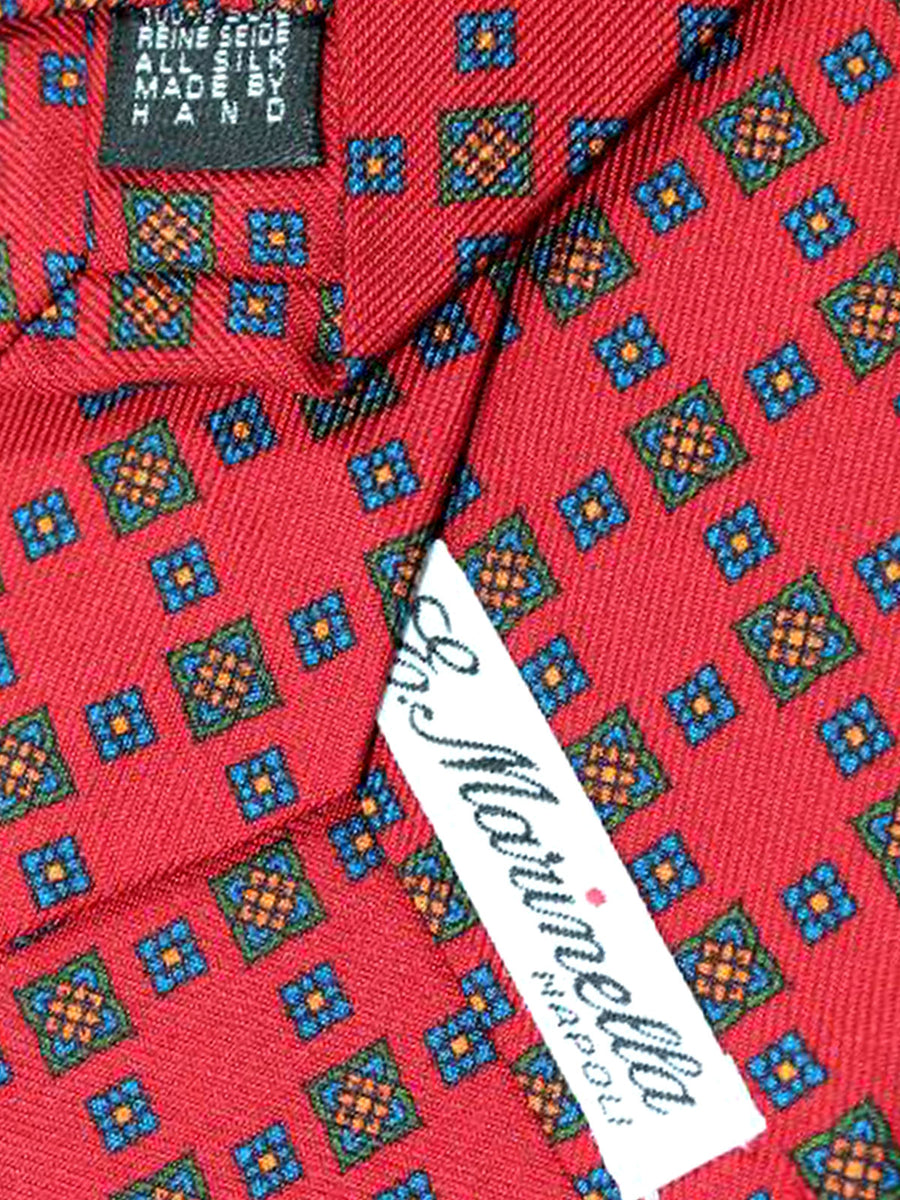 E. Marinella Tie Dark Red Navy Geometric - Wide Tie