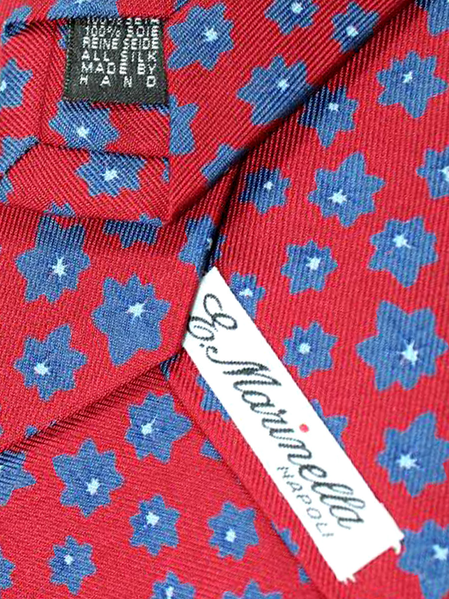 E. Marinella Tie Dark Red Navy Floral - Wide Tie