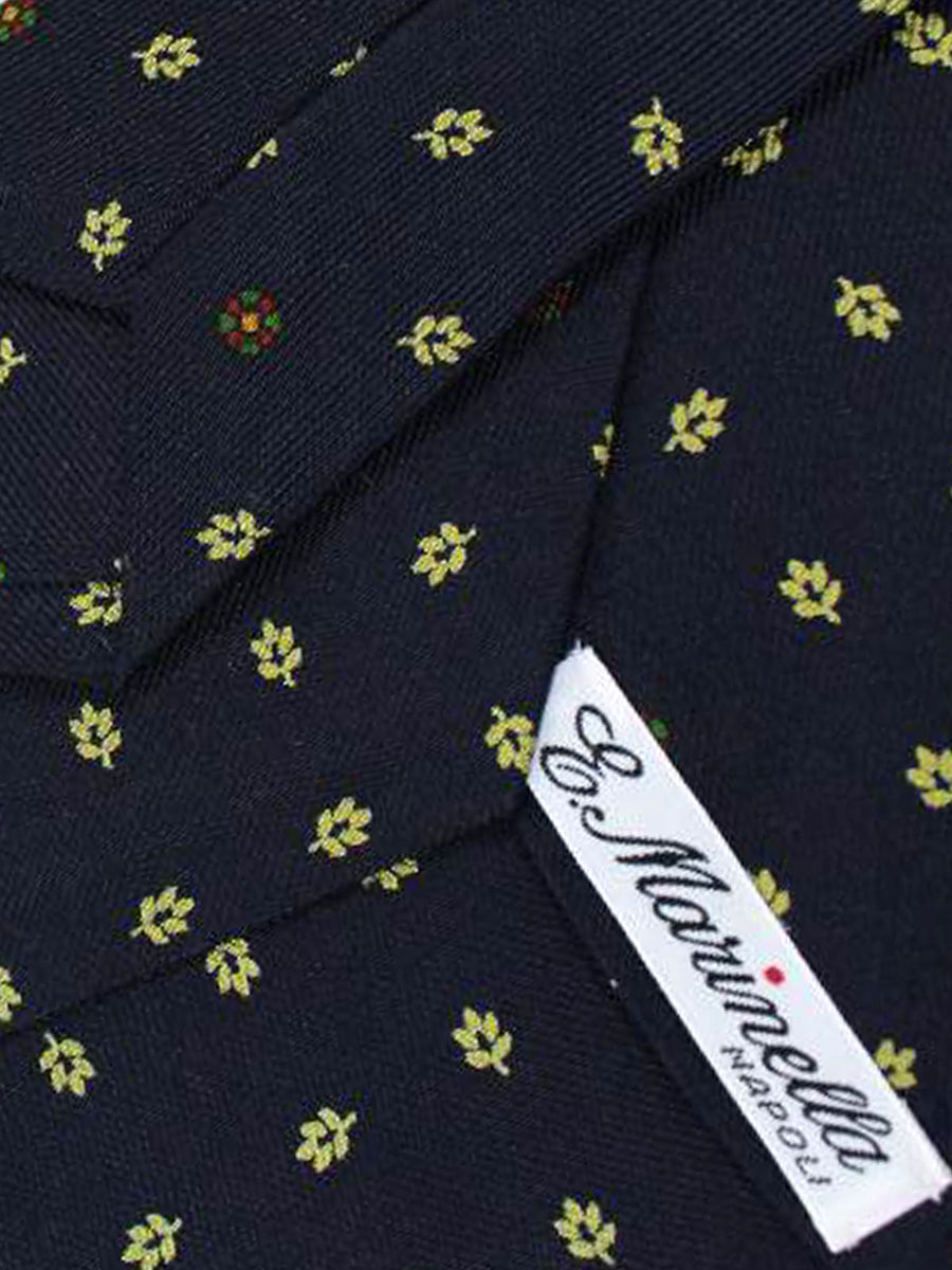 E. Marinella Tie Dark Navy Leaves - Wide Necktie
