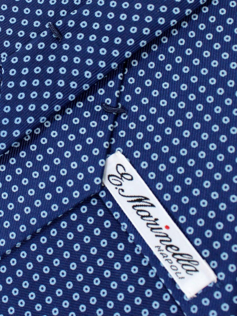E. Marinella Tie Navy Sky Blue Circles - Wide Necktie