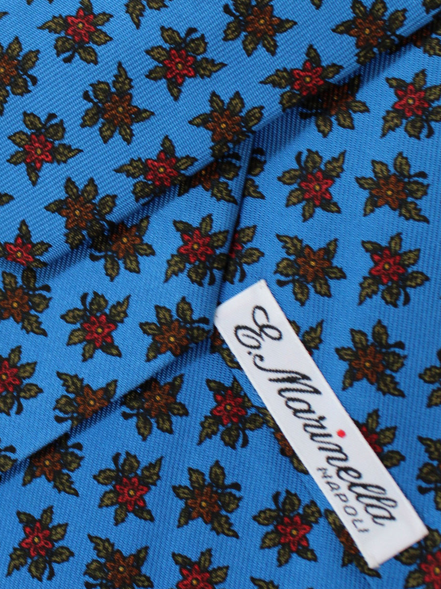 E. Marinella Napoli Tie Blue Red Floral - Wide Necktie