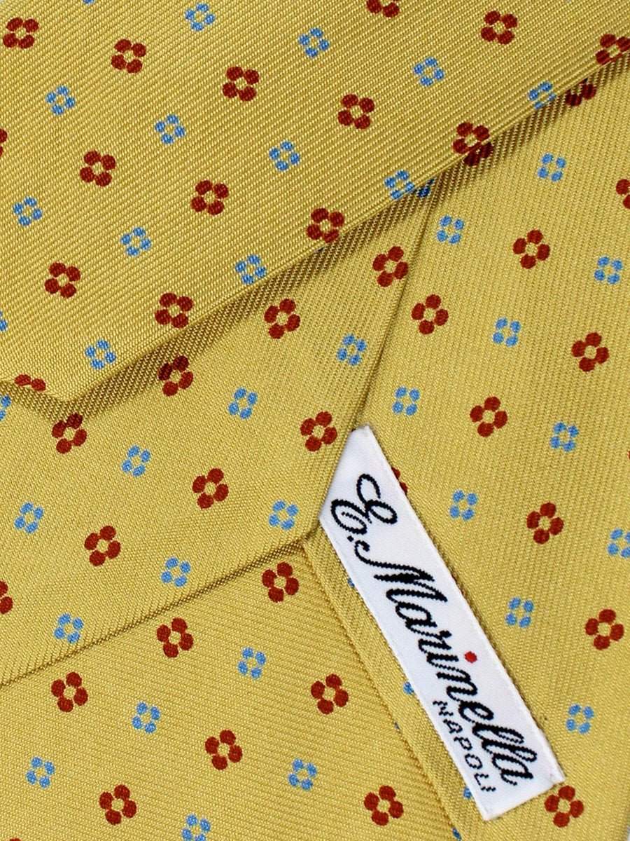E. Marinella Napoli Tie Yellow Gold Red Blue Geometric - Wide Necktie