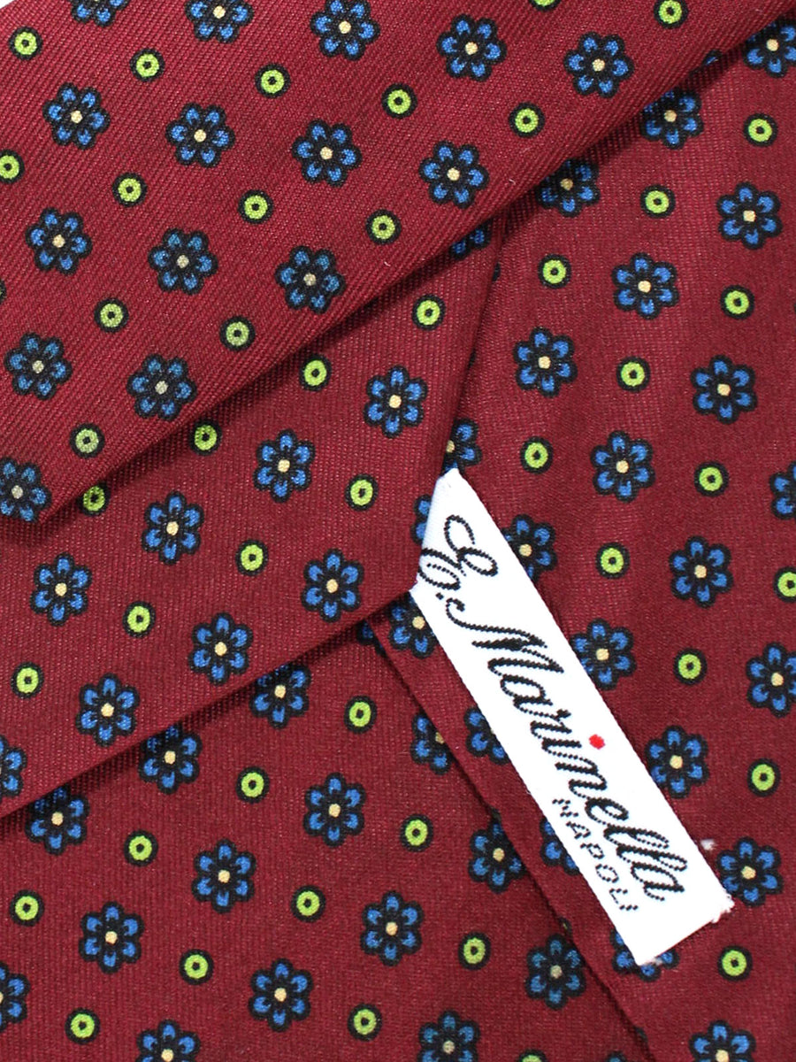 E. Marinella Napoli Tie Maroon Royal Blue Lime Floral - Wide Necktie