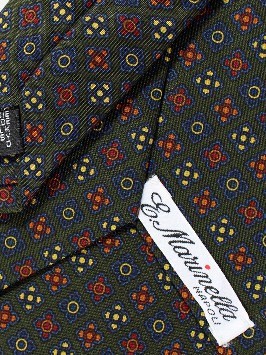 E. Marinella Napoli Tie Forest Green Dark Blue Burgundy Geometric - Wide Necktie