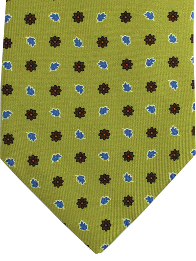 E. Marinella Napoli Tie Lime Blue Brown Floral - Wide Necktie