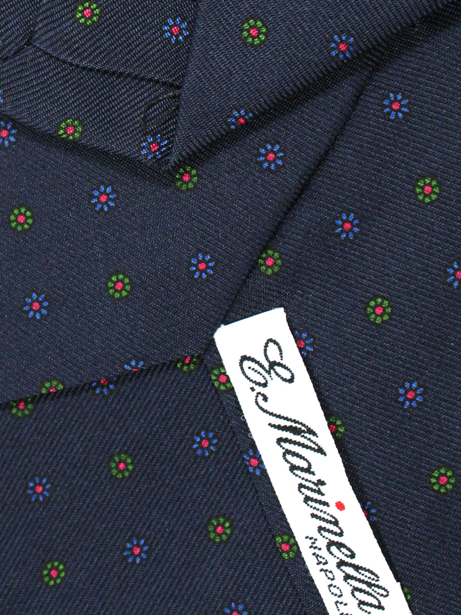 E. Marinella Napoli Tie Navy Mini Flowers - Wide Necktie