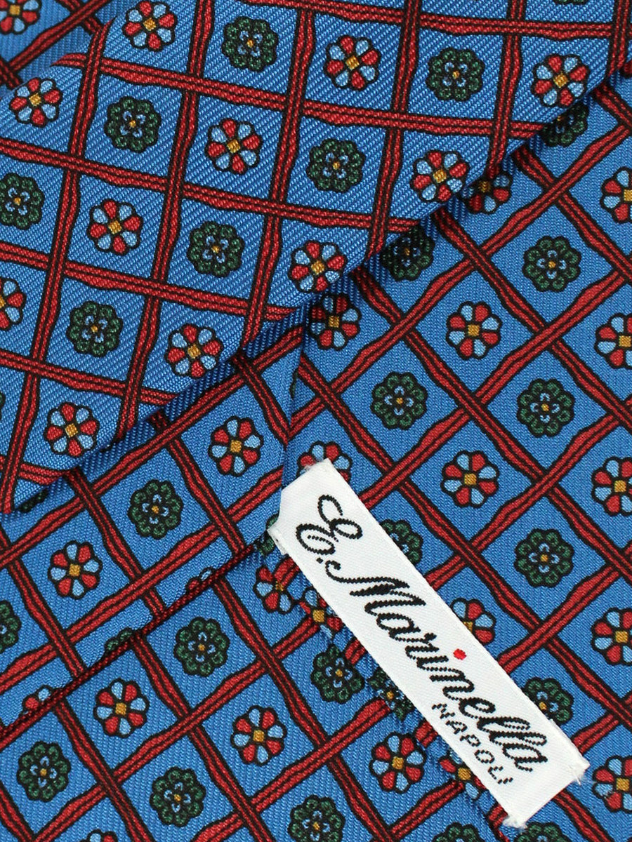 E. Marinella Tie Blue Dark Red Check Floral Design - Wide Necktie