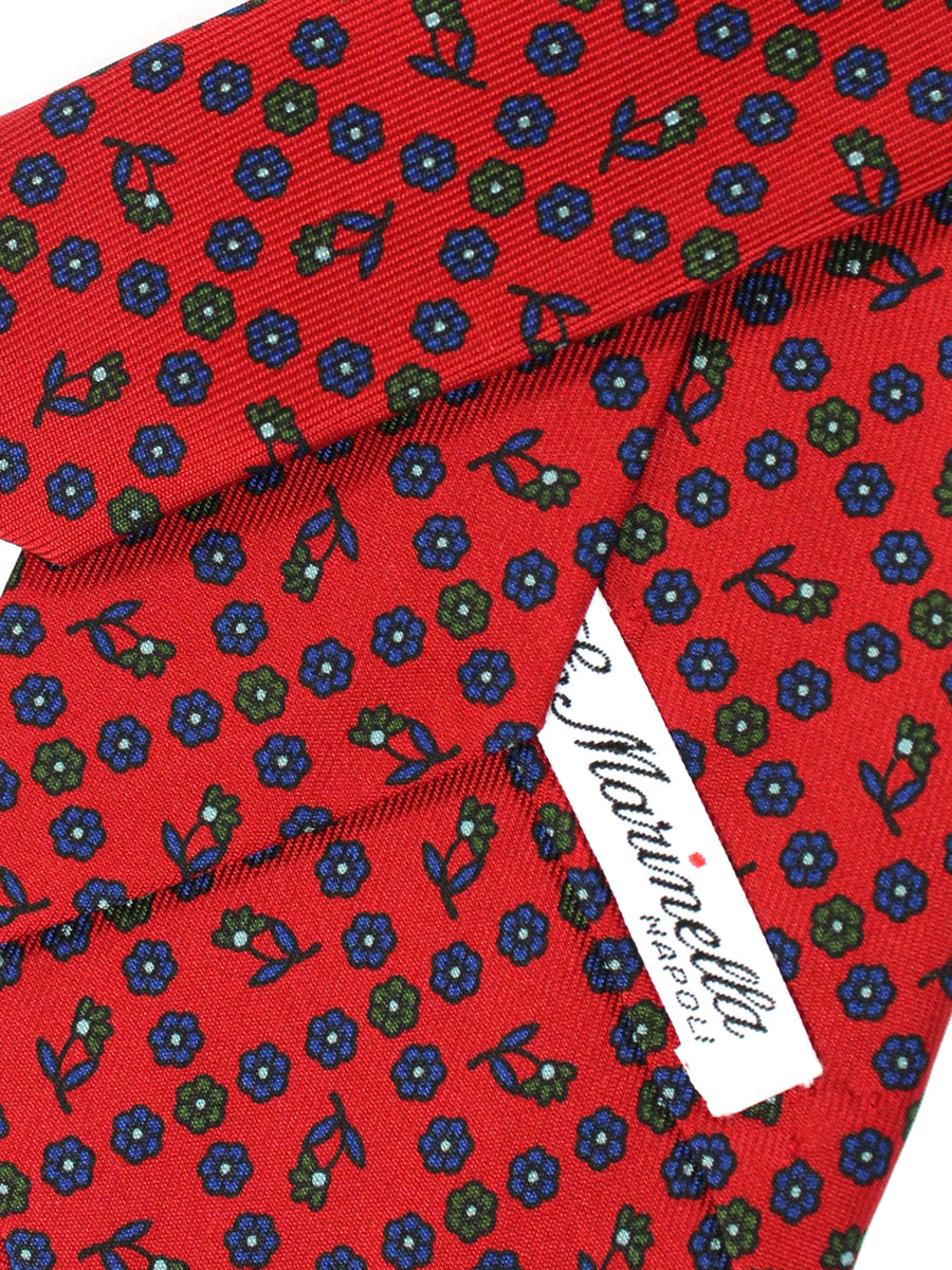 E. Marinella Tie Dark Red Navy Floral Design - Wide Necktie