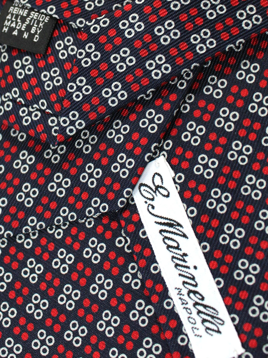 E. Marinella Tie Dark Navy Red Geometric - Wide Necktie