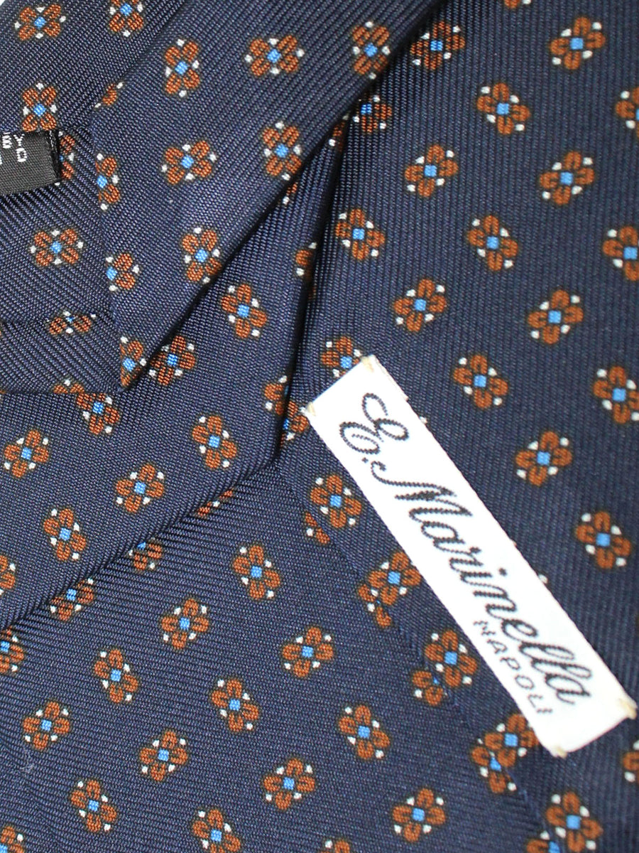 E. Marinella Tie Navy Brown Medallions - Wide Necktie
