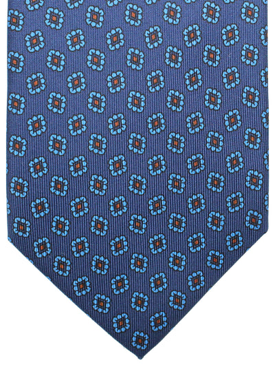 E. Marinella Tie Navy Blue Brown Medallions - Wide Necktie