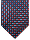 E. Marinella Tie Navy Red Blue Geometric - Wide Necktie