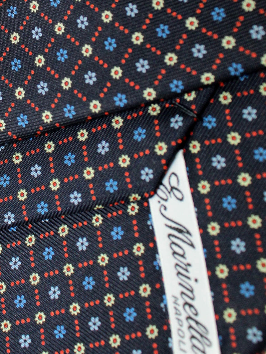 E. Marinella Tie Navy Blue Red Floral Fall / Winter 2020 Collection