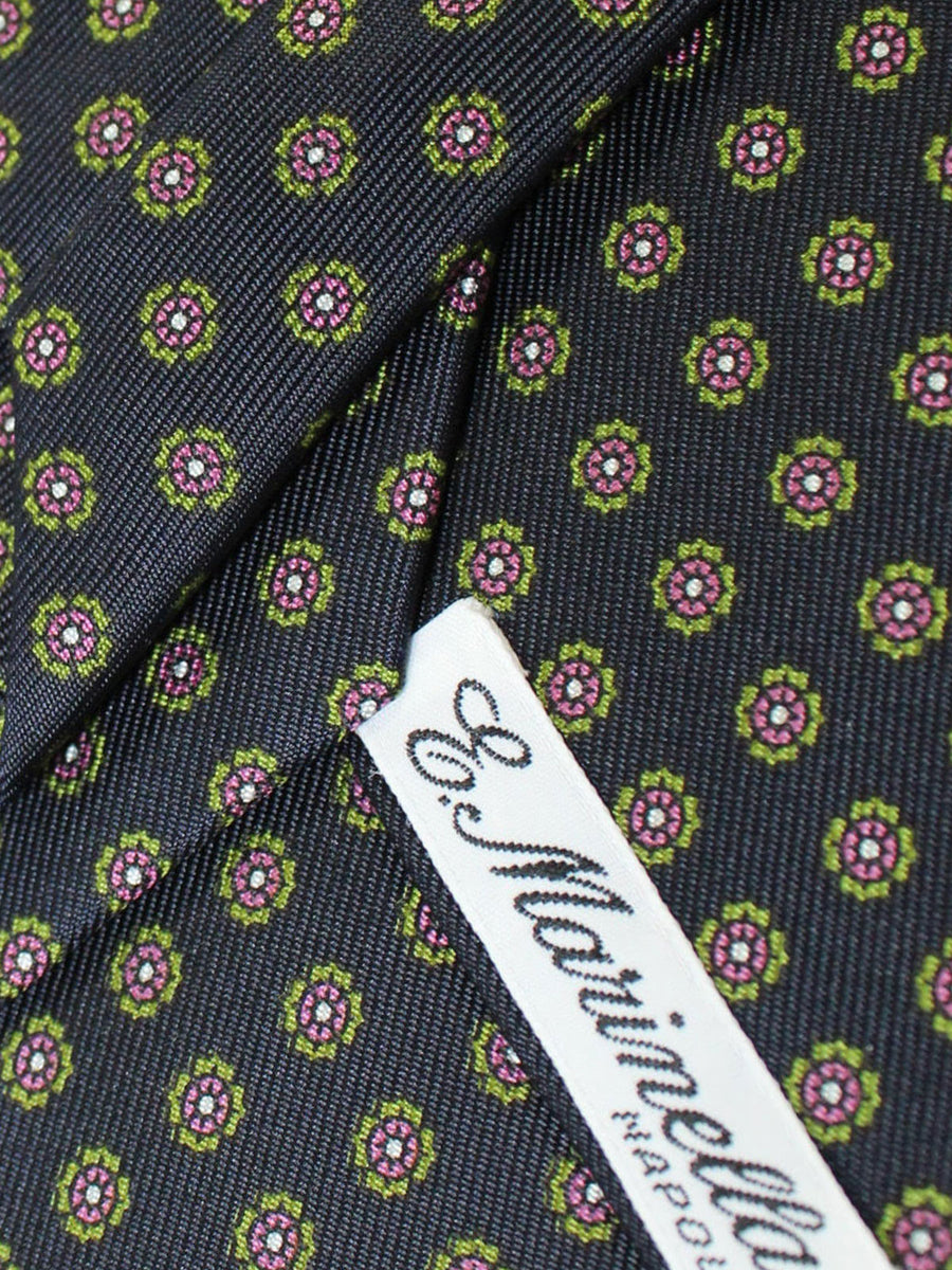 E. Marinella Silk Tie Navy Green Brown Medallions Fall / Winter 2020 Collection