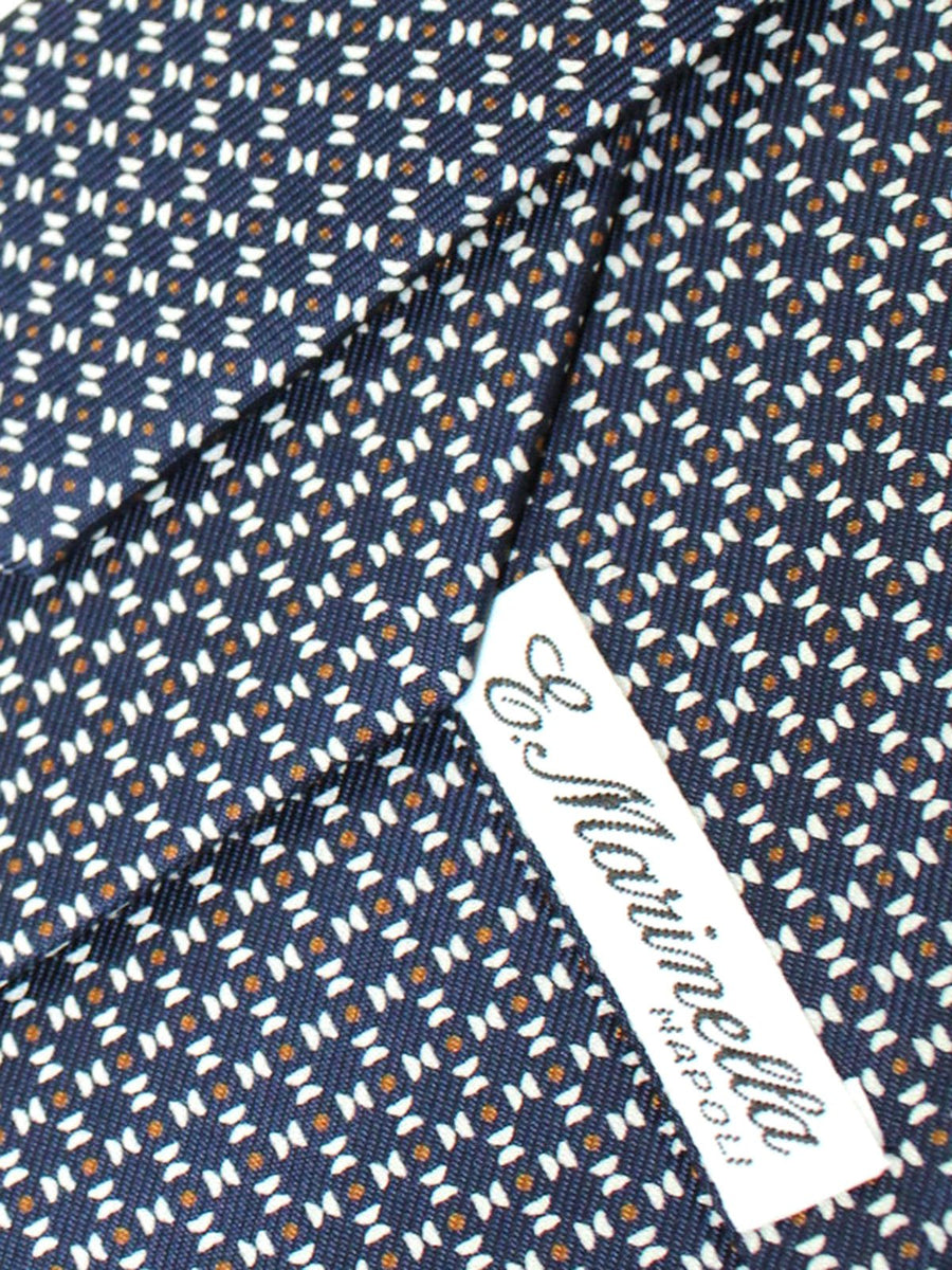 E. Marinella Tie Navy Blue Mustard Geometric Fall / Winter 2020 Collection