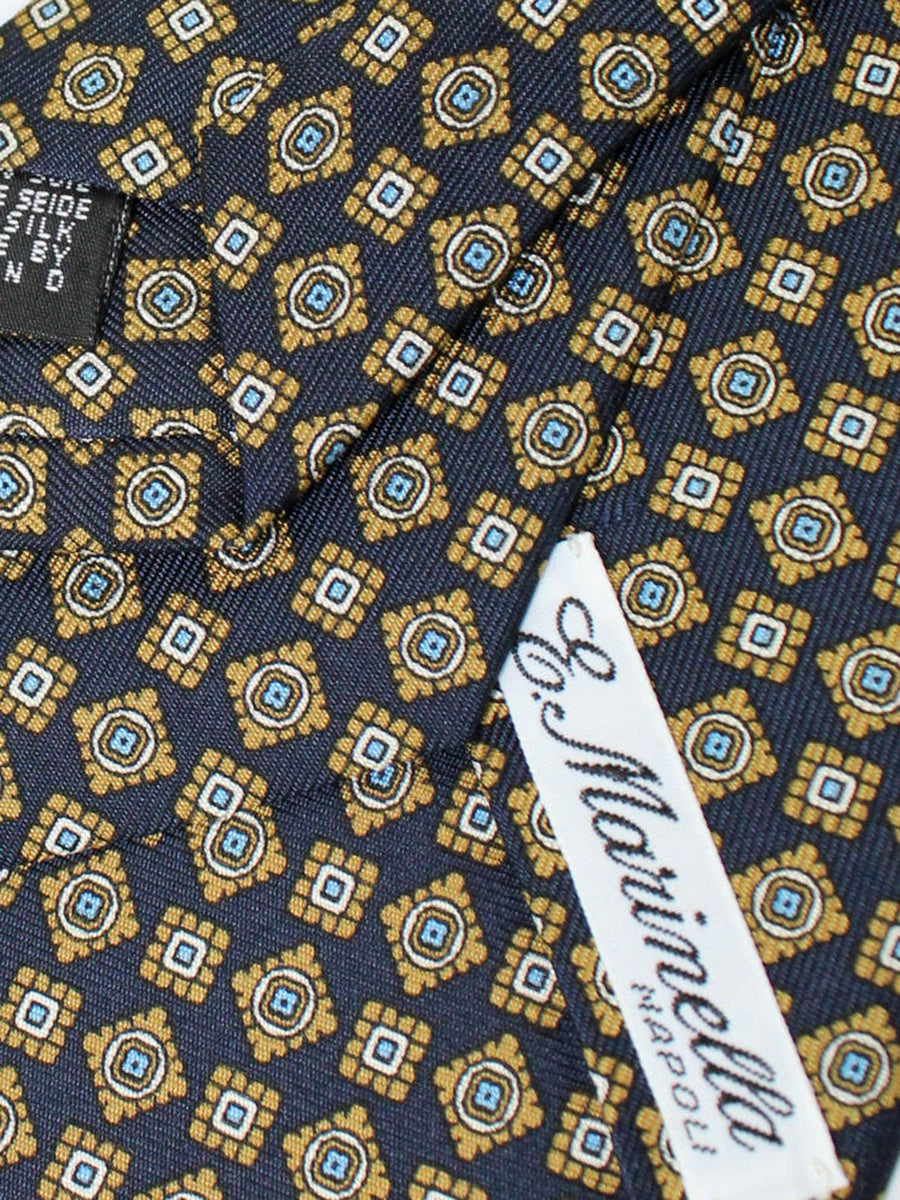 E. Marinella Tie Navy Taupe Blue Geometric Fall / Winter 2020 Collection