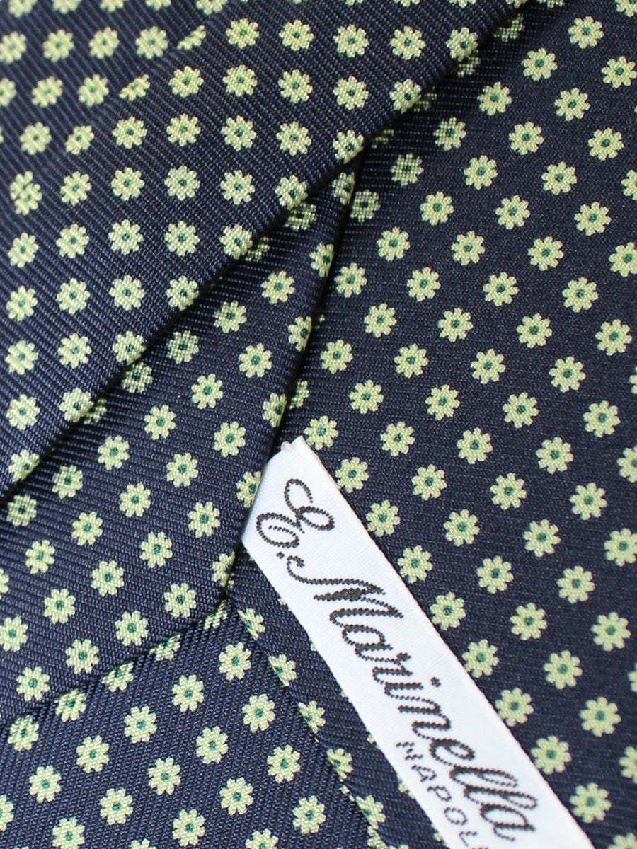 E. Marinella Tie Black Silver Green Floral New Collection