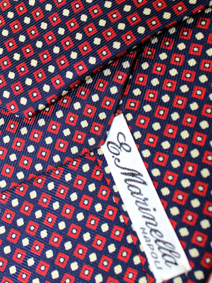 E. Marinella Tie Navy Red Geometric - Wide Necktie