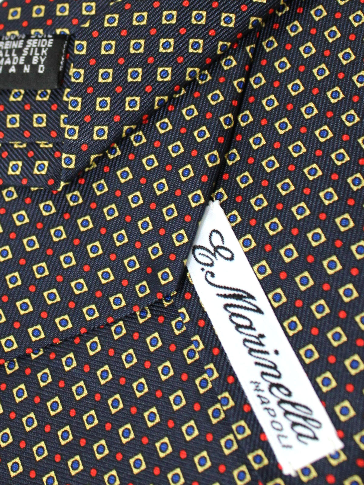 E. Marinella Tie Dark Blue Red Gold Geometric - Wide Necktie