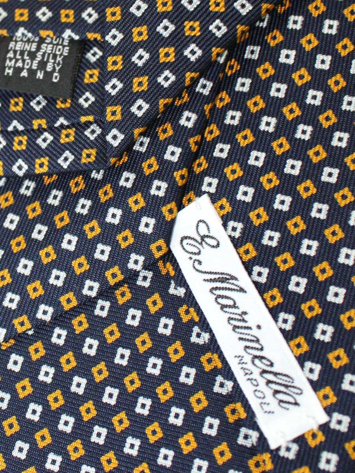 E. Marinella Tie Dark Blue Orange White Geometric - Wide Necktie