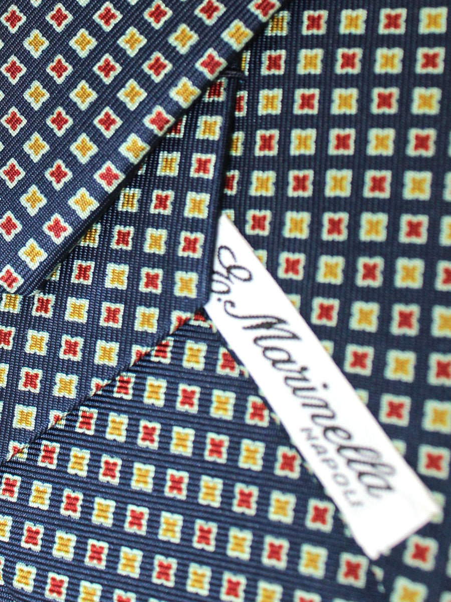 E. Marinella Tie Navy Mustard Red Geometric - New Collection