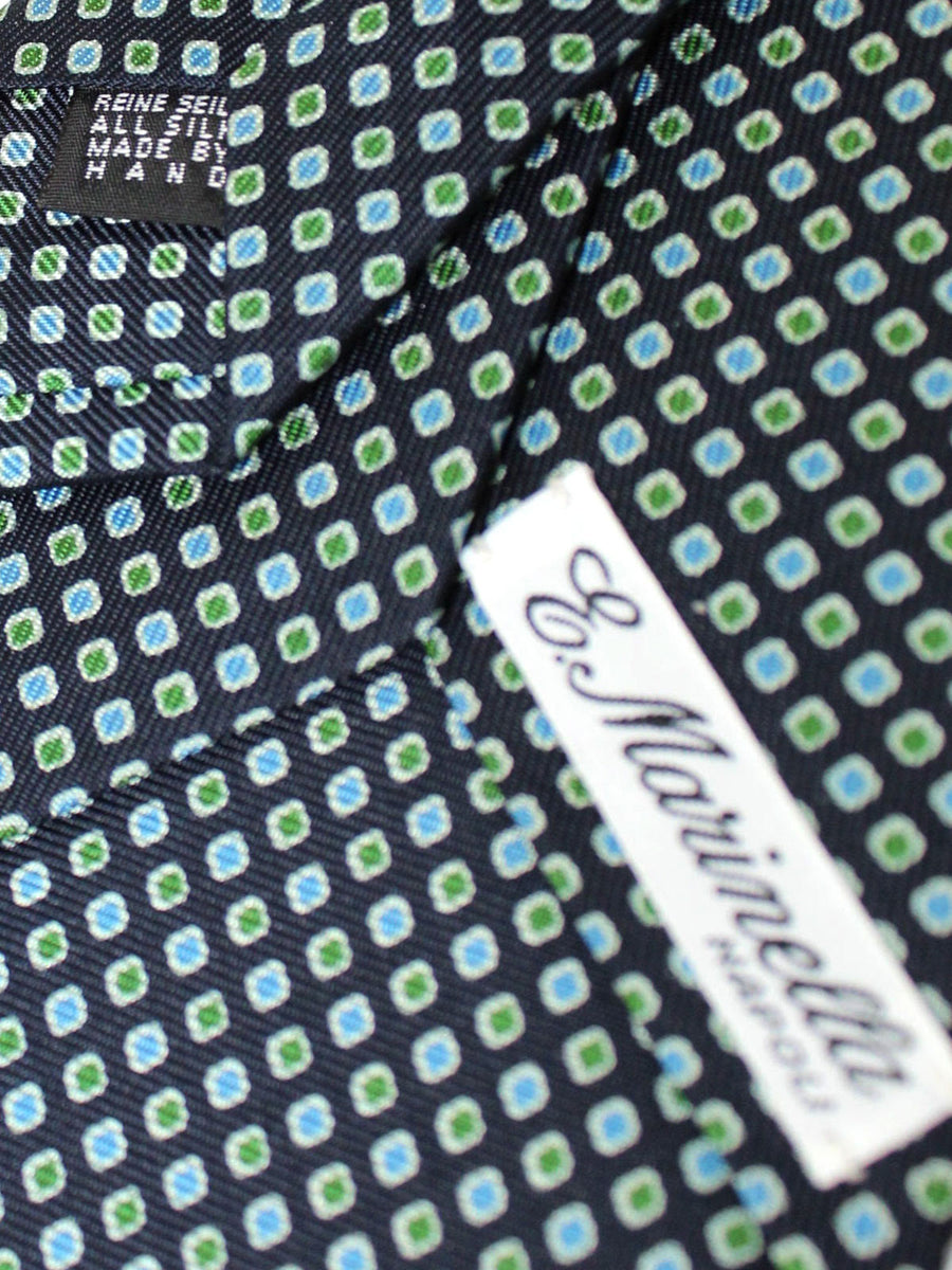 E. Marinella Tie Navy Blue Green Geometric - New Collection