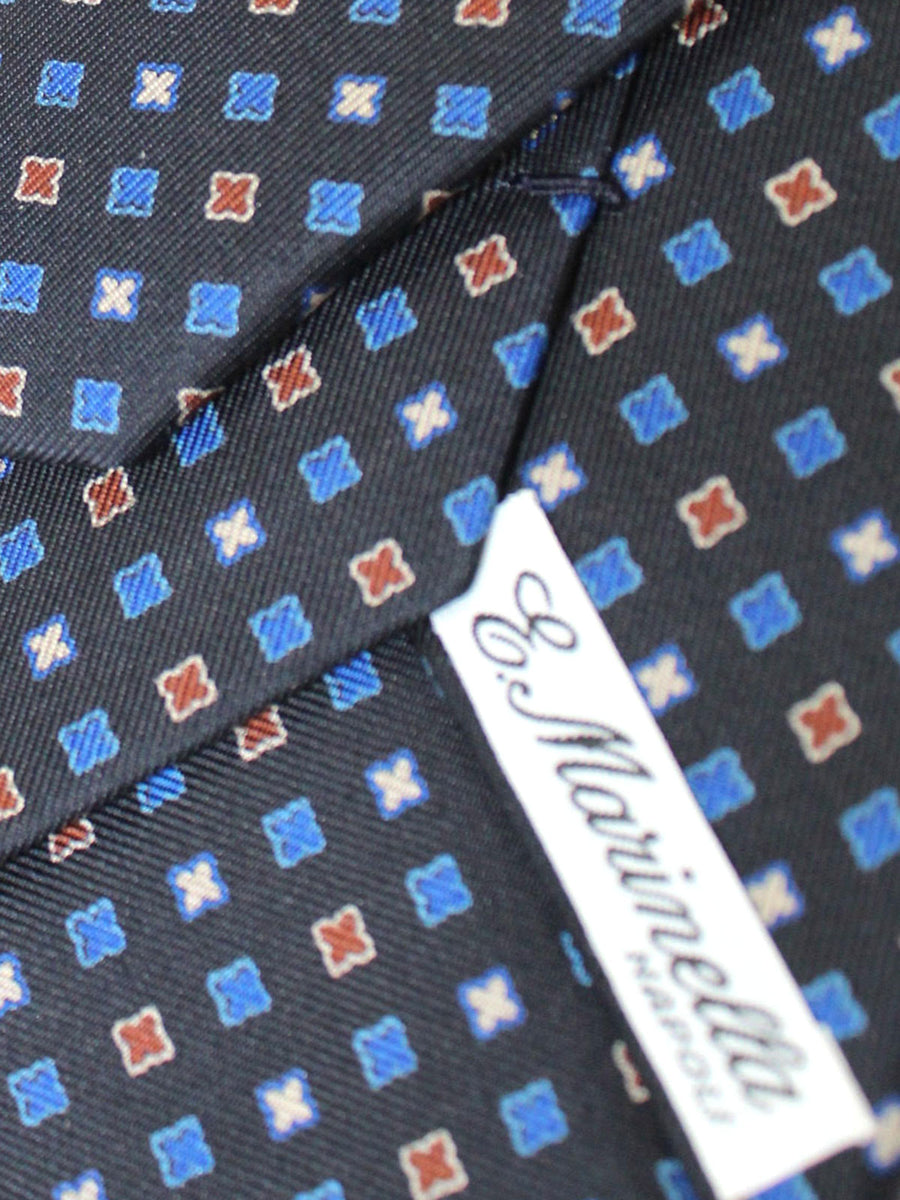 E. Marinella Tie Black Royal Blue Orange Geometric - New Collection