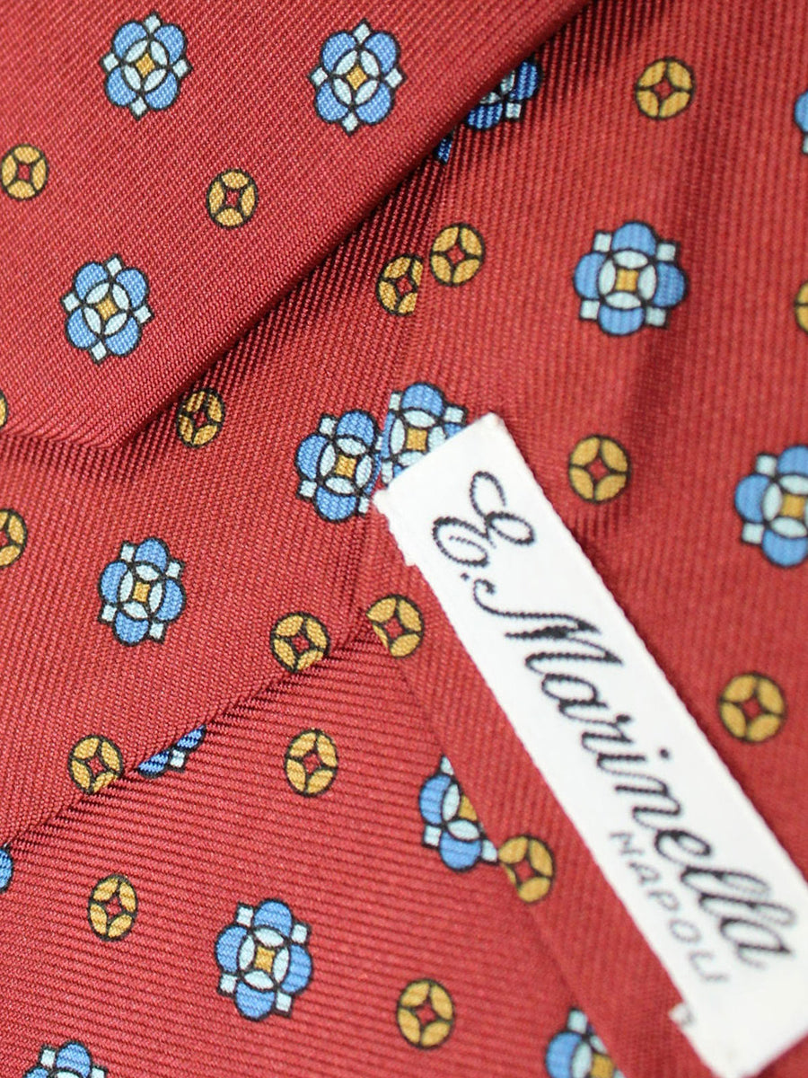 E. Marinella Tie Red Brown Blue Medallions - New Collection