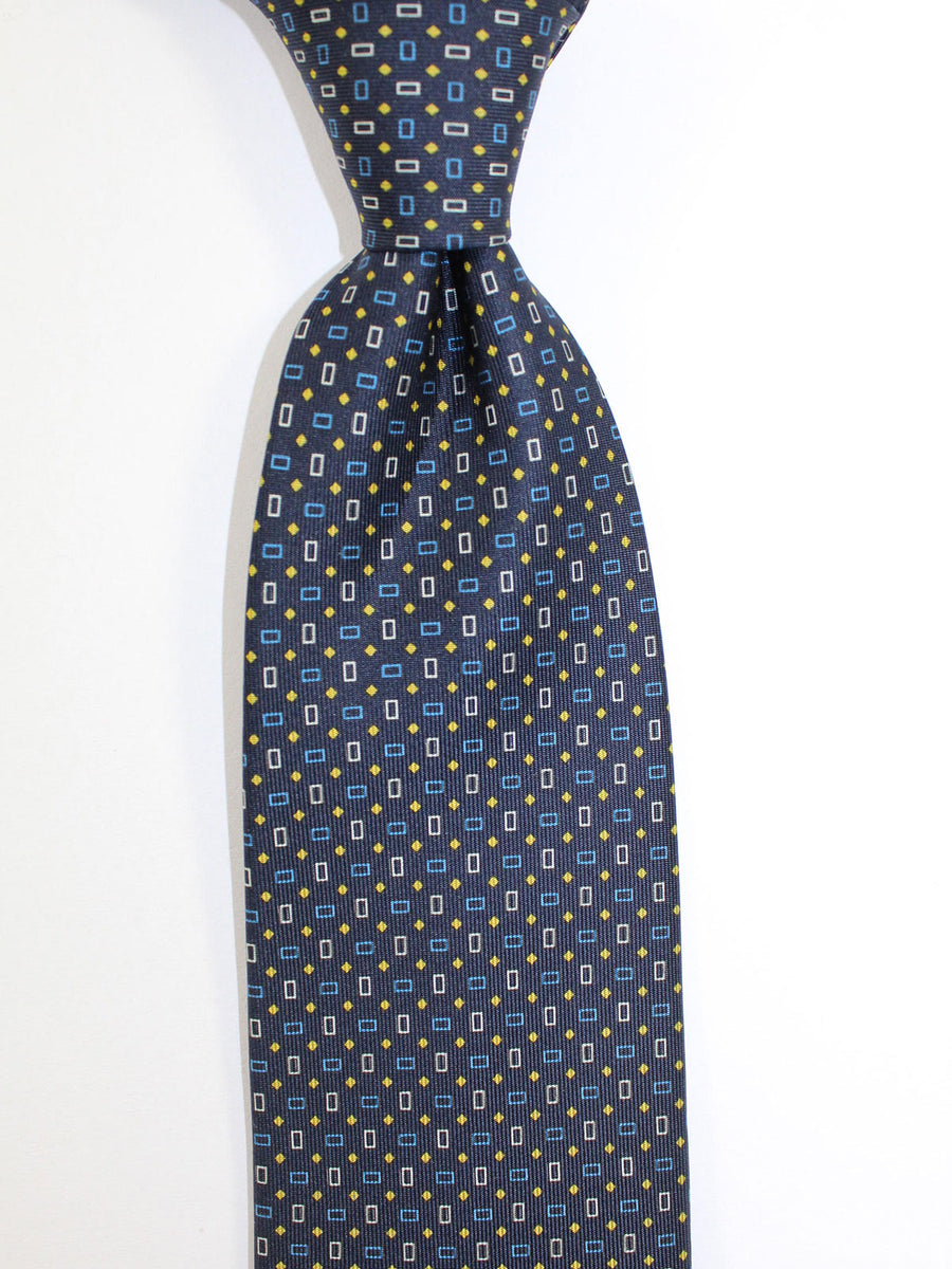 E. Marinella Tie Black Blue Geometric