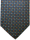 E. Marinella Silk Tie Navy Blue Orange Geometric