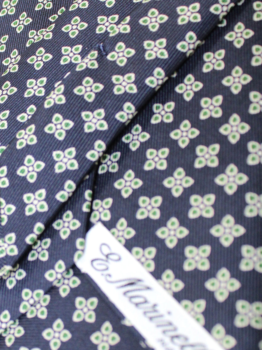 E. Marinella Silk Tie Black Green Geometric Flowers