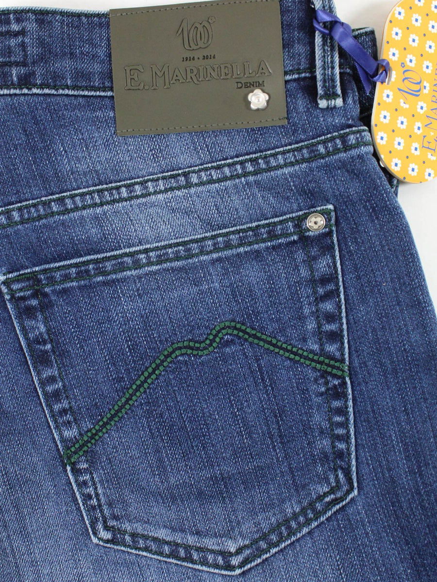 E. Marinella Jeans Dark Blue Hand Made Denim Jeans