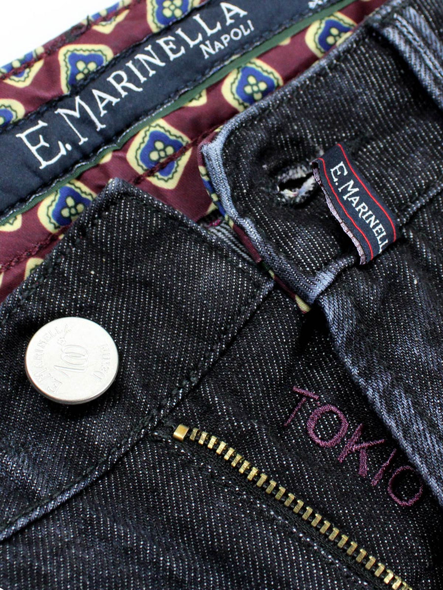 E. Marinella Jeans Black Hand Made Denim Jeans