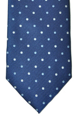 Marinella Tie Navy Blue Silver Dots