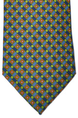 E. Marinella Tie Navy Blue Orange Lime Design
