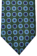 E. Marinella Tie Green Navy Blue Design - Wide Necktie