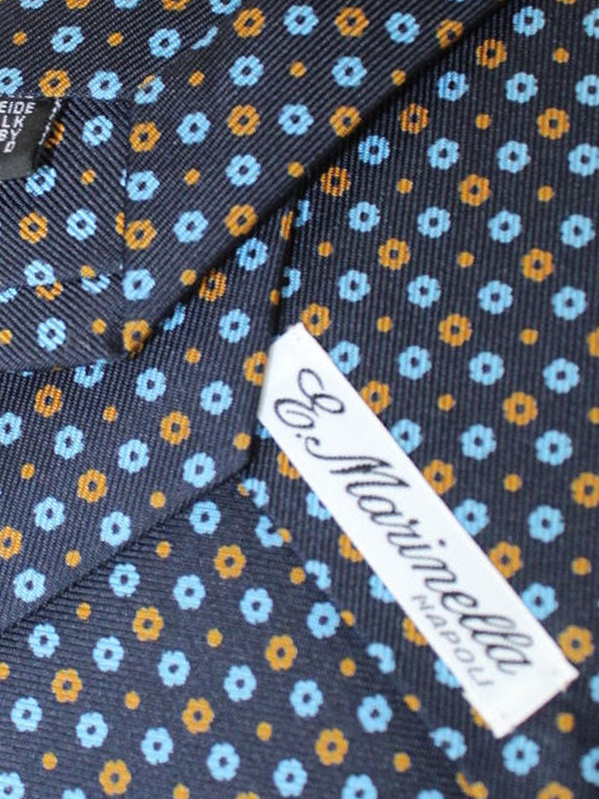 E. Marinella Silk Tie Dark Blue Brown Blue Floral